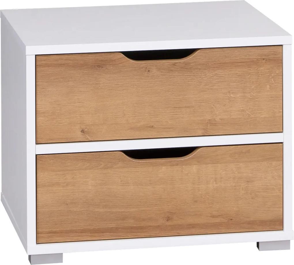 GB Nočný stolík Iva Farba: biela/dub zlatý