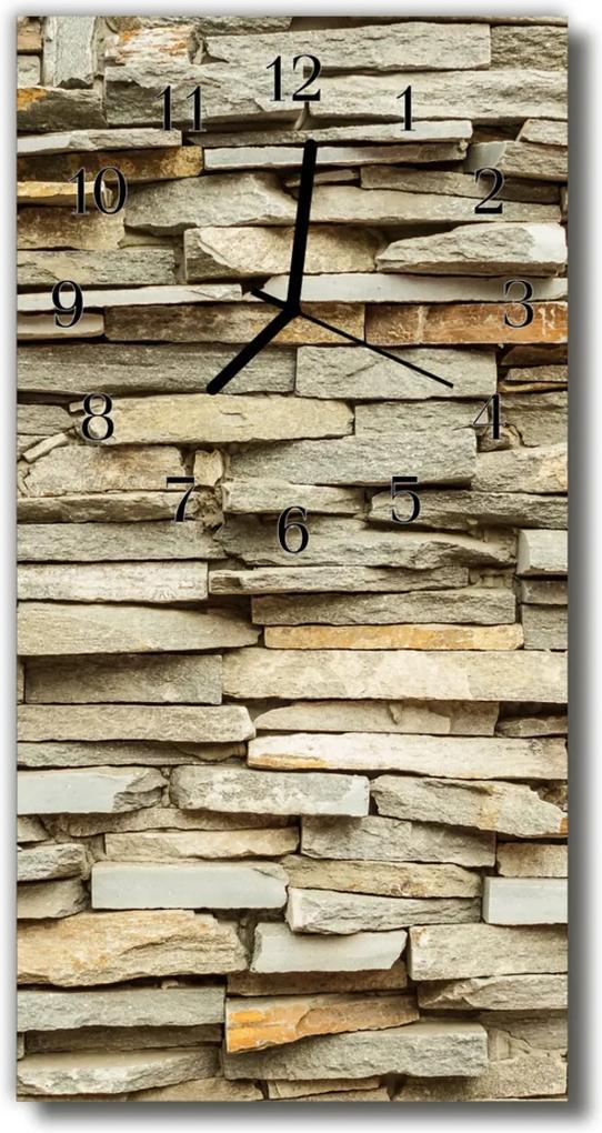 Skleněné hodiny vertikální Wall slínku cihlově béžová