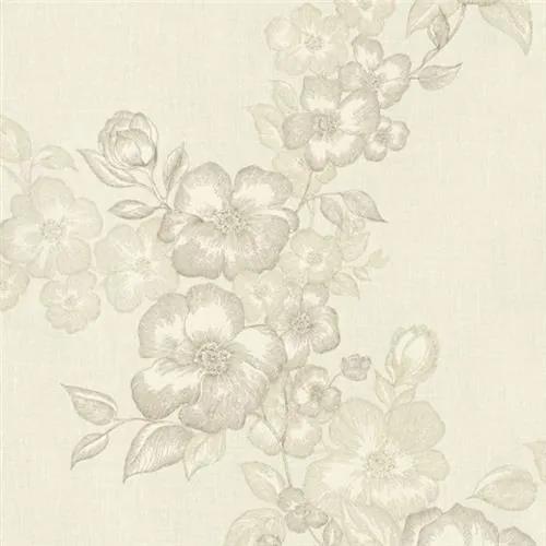 Luxusné vliesové tapety na stenu G.M.Kretschmer Deluxe 41002-20, kvety krémové, rozmer 10,05 m x 0,53 m, P+S International