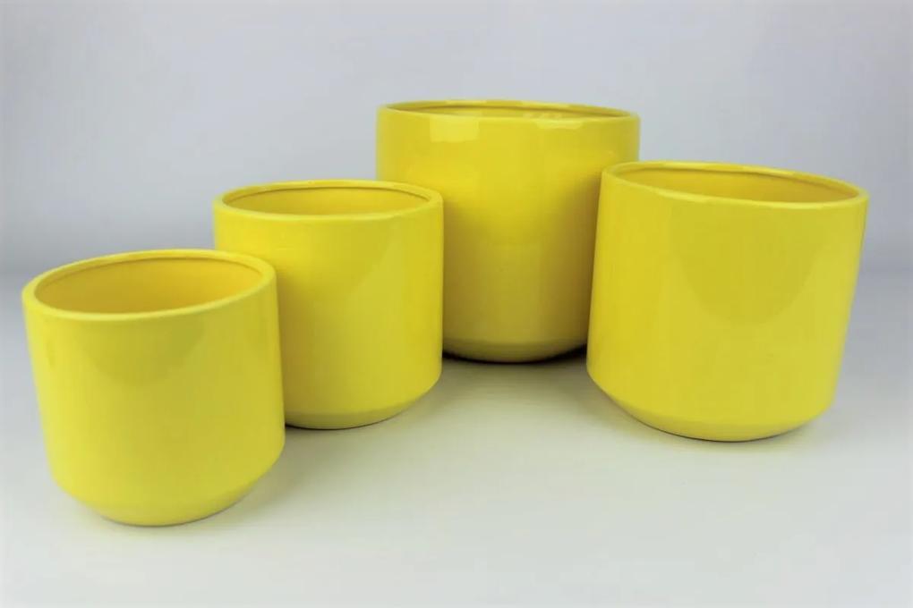 Žltý keramický okrúhly kvetináč 11 cm