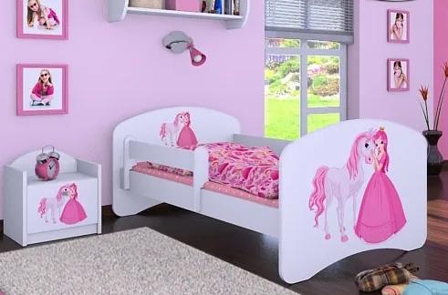 MAXMAX Detská posteľ bez šuplíku 160x80cm PRINCEZNÁ A KONÍK