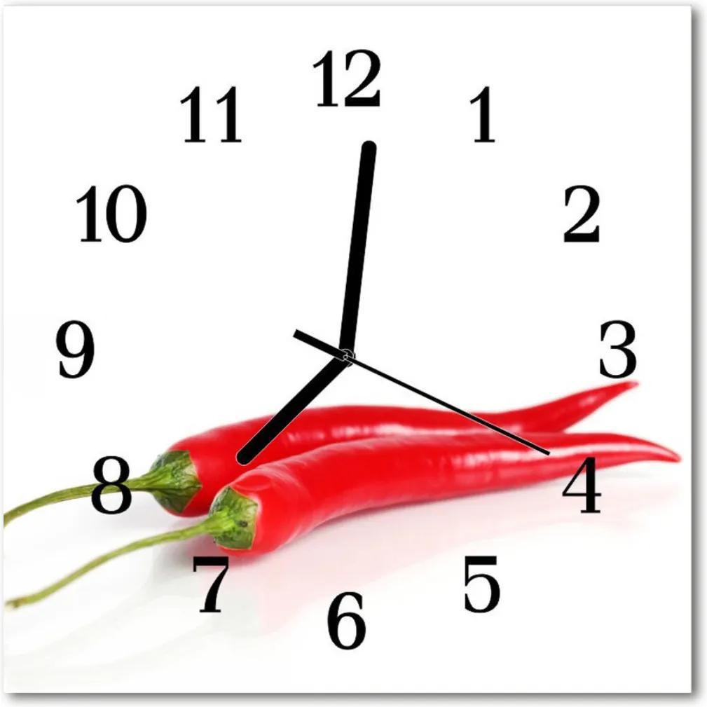 Skleněné hodiny čtvercové paprika