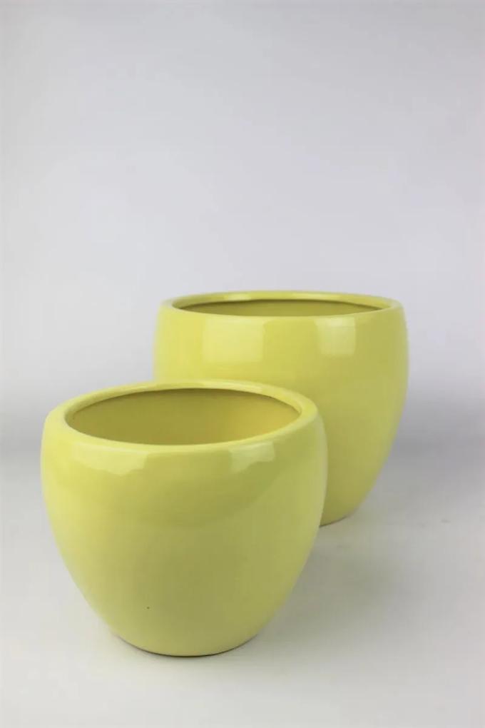 Žltý keramický klasický kvetináč 15 cm