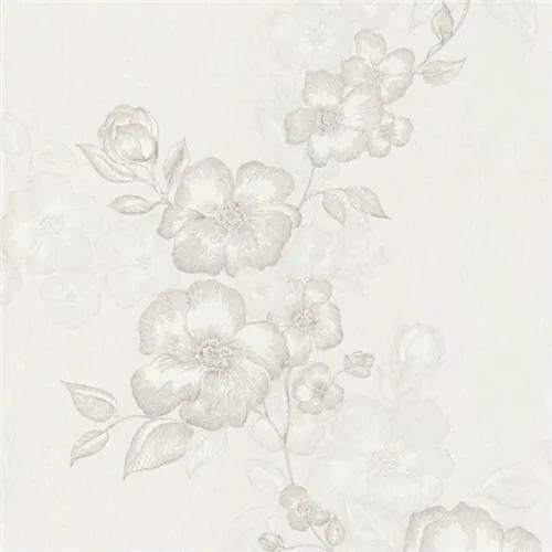 Luxusné vliesové tapety na stenu G.M.Kretschmer Deluxe 41002-10, kvety bielo-krémové, rozmer 10,05 m x 0,53 m, P+S International