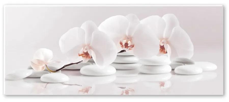 Obraz Styler Glasspik Spa & Zen White Stones, 50 × 125 cm
