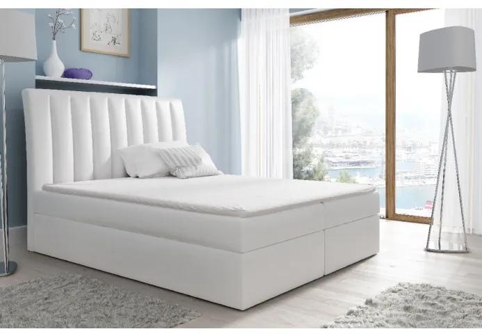 Kontinentálna posteľ Kaspis biela eko koža 120 + topper zdarma