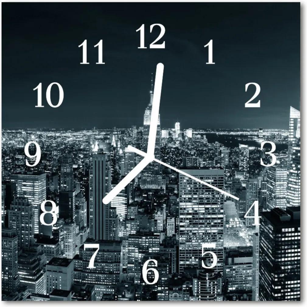 Skleněné hodiny čtvercové Noční město