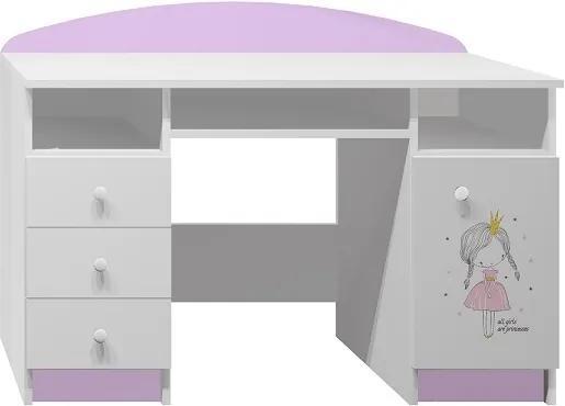 MAXMAX Písací stôl RUŽOVÁ PRINCEZNA - TYP B pre dievča