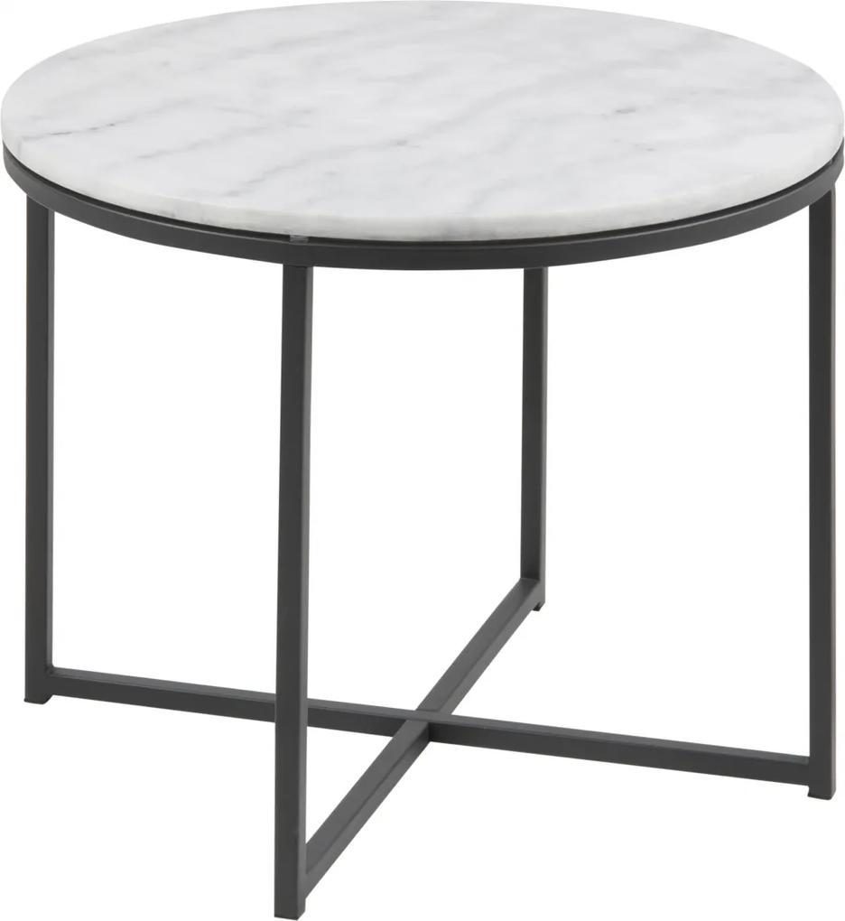 Bighome - Príručný stolík CROSS55 cm, biela