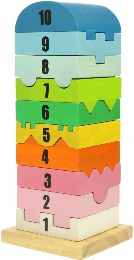 Bigjigs Drevená motorická veža s číslicami