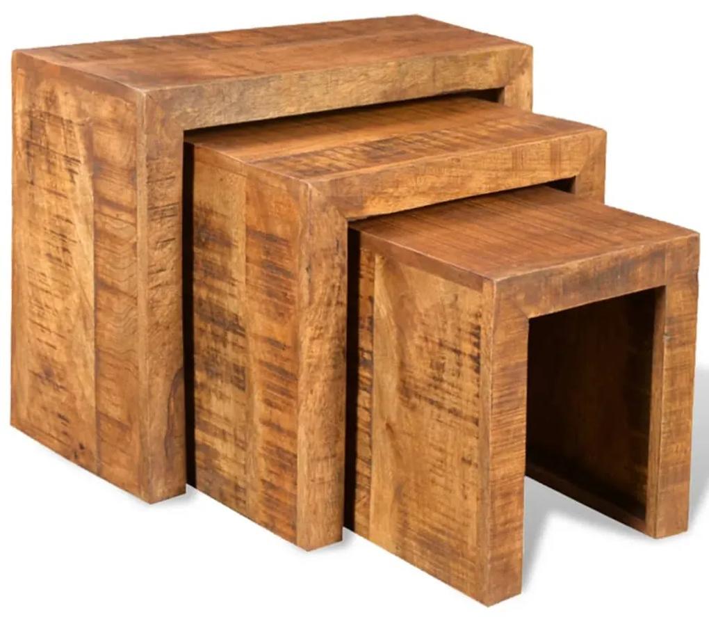 vidaXL Stohovateľné stolíky, 3 kusy, mangový masív