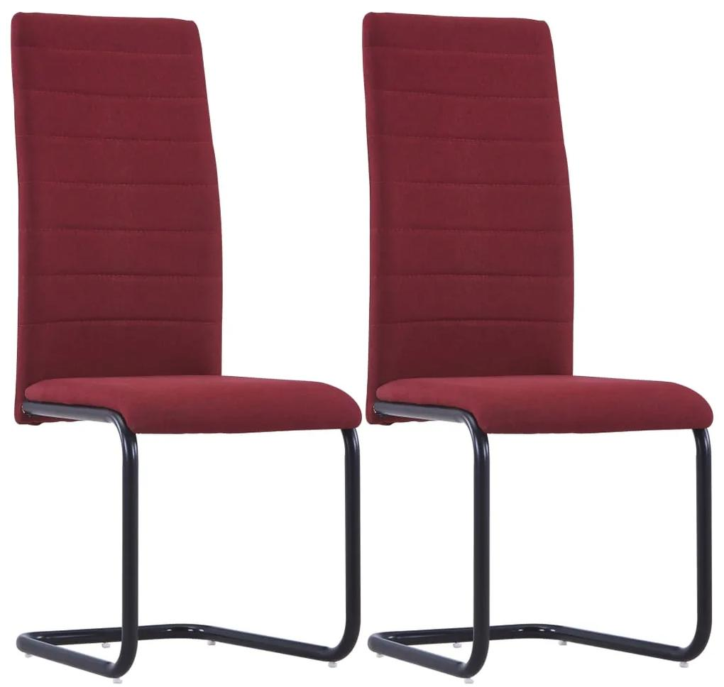vidaXL Jedálenské stoličky, perová kostra 2 ks, vínové, látka