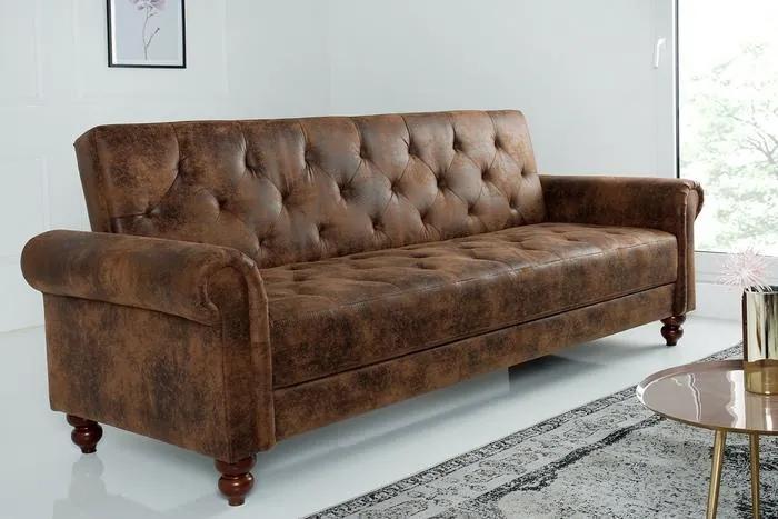 Dizajnová sedačka Scarlet 225 cm rozkladacia / antická hnedá