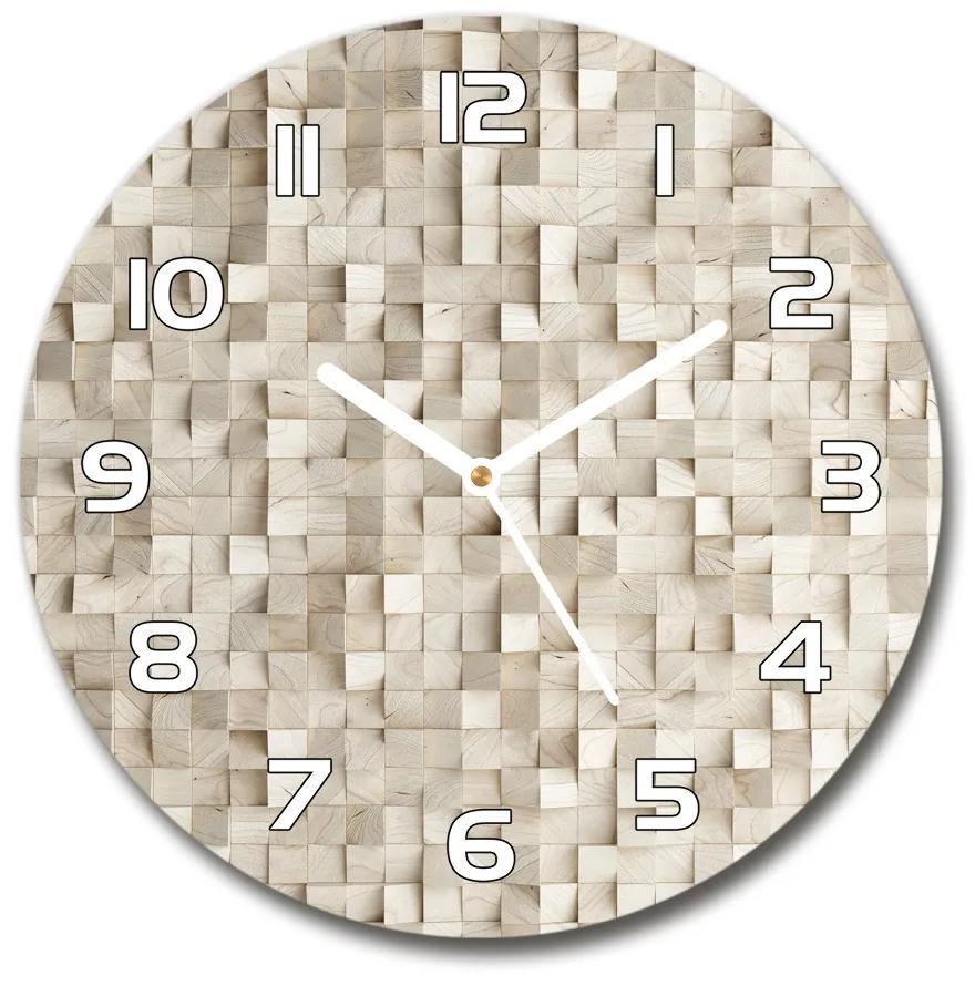 Sklenené hodiny na stenu Drevené kocky pl_zso_30_f_89246295