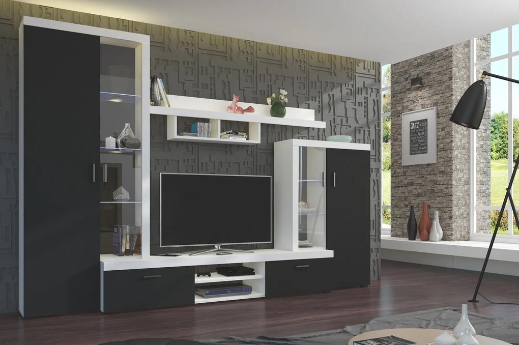 Moderná obývacia stena ASTA, čierna/biela