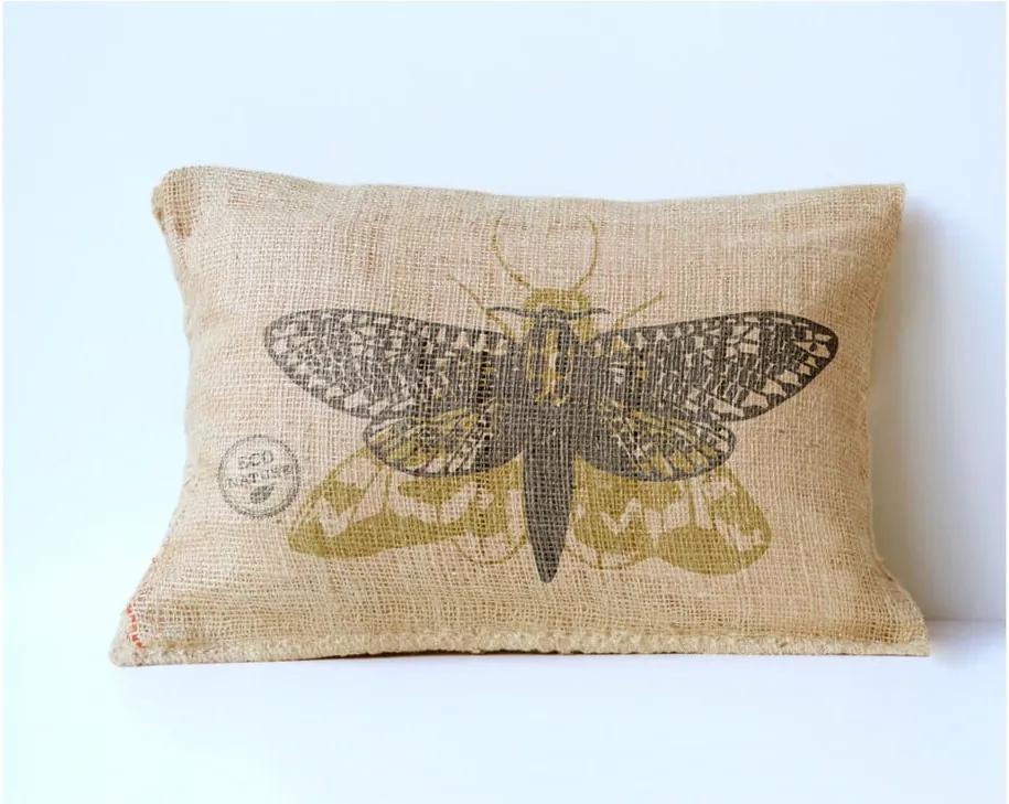 Obliečka na vankúš z juty Surdic Yute Moth, 50 × 35 cm