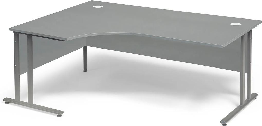 Rohový kancelársky pracovný stôl Flexus, ľavý, 1800x1200 mm, šedá