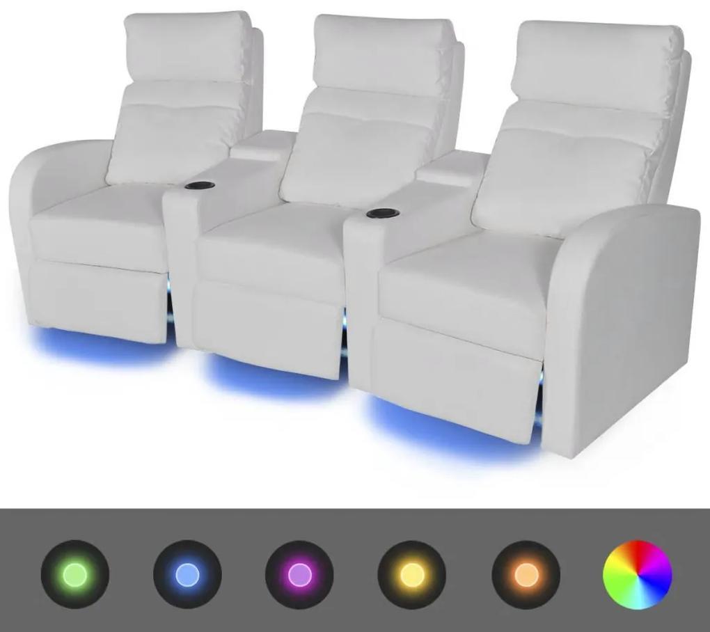 vidaXL Sklápacie 3-miestne kreslo s LED osvetlením, umelá koža, biele