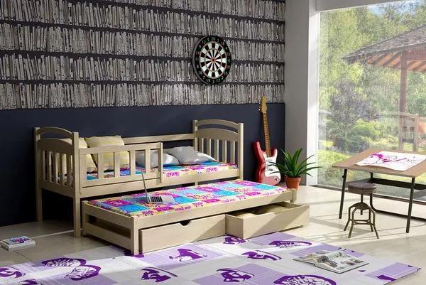 MAXMAX Detská posteľ s výsuvnou prístelkou z MASÍVU 200x90cm so zásuvkou - DPV008 200x90 ÁNO