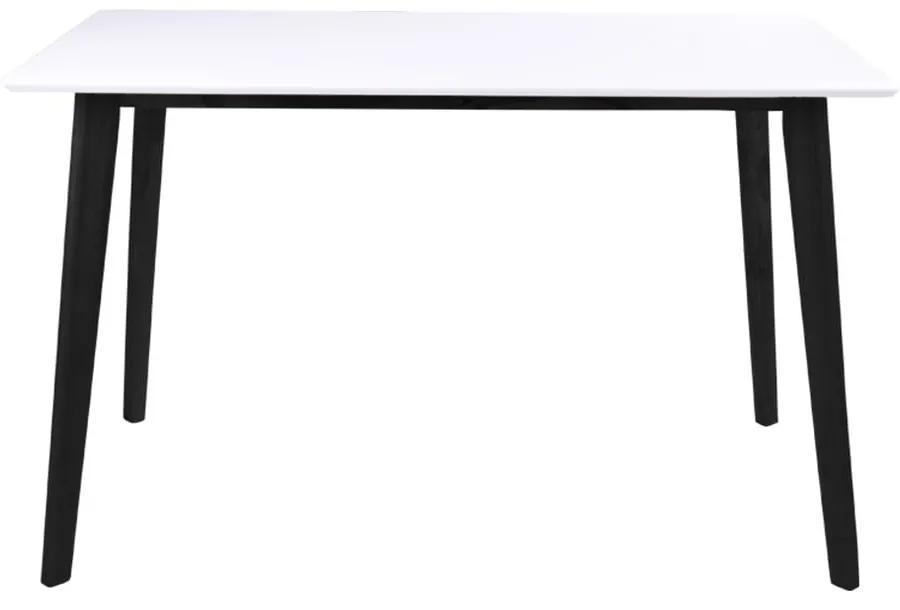 Jedálenský stôl s bielou doskou a čiernymi nohami z kaučukového dreva loomi.design Vojens, 120 × 70 cm