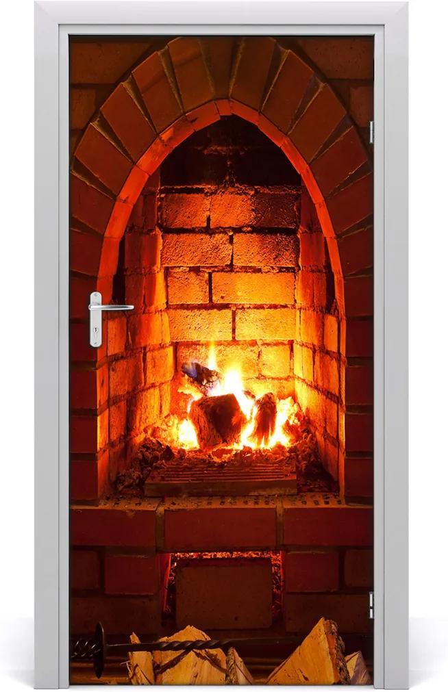 Fototapeta na dveře Oheň v krbu