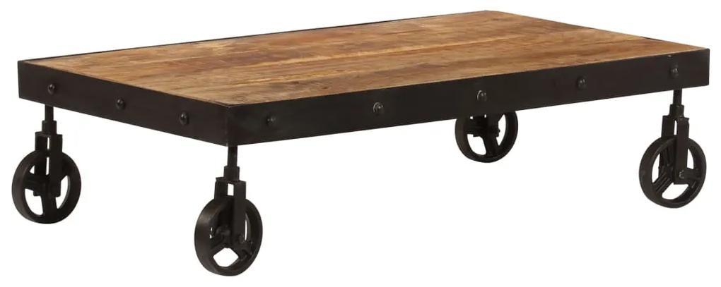 vidaXL Konferenčný stolík s kolieskami 100x60x26 cm mangovníkové drevo