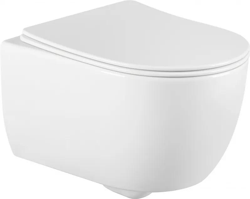 Mexen CARMEN Rimless závesná WC misa so sedátkom pomaly-padajúcim SLIM, 49 x 37 cm, biela, 30880400