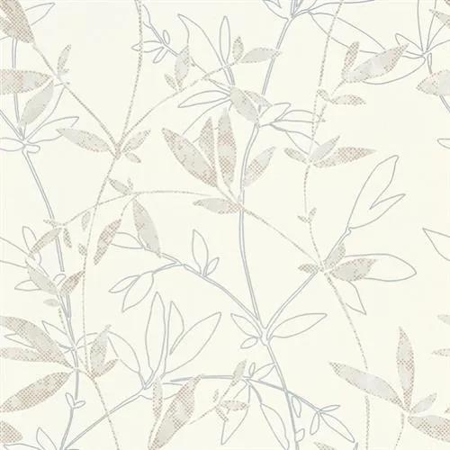 Vliesové tapety na stenu Natural Living 6499-31, rozmer 10,05 m x 0,53 cm, popínavé vetvičky s lístkami hnedo-sivé, Erismann