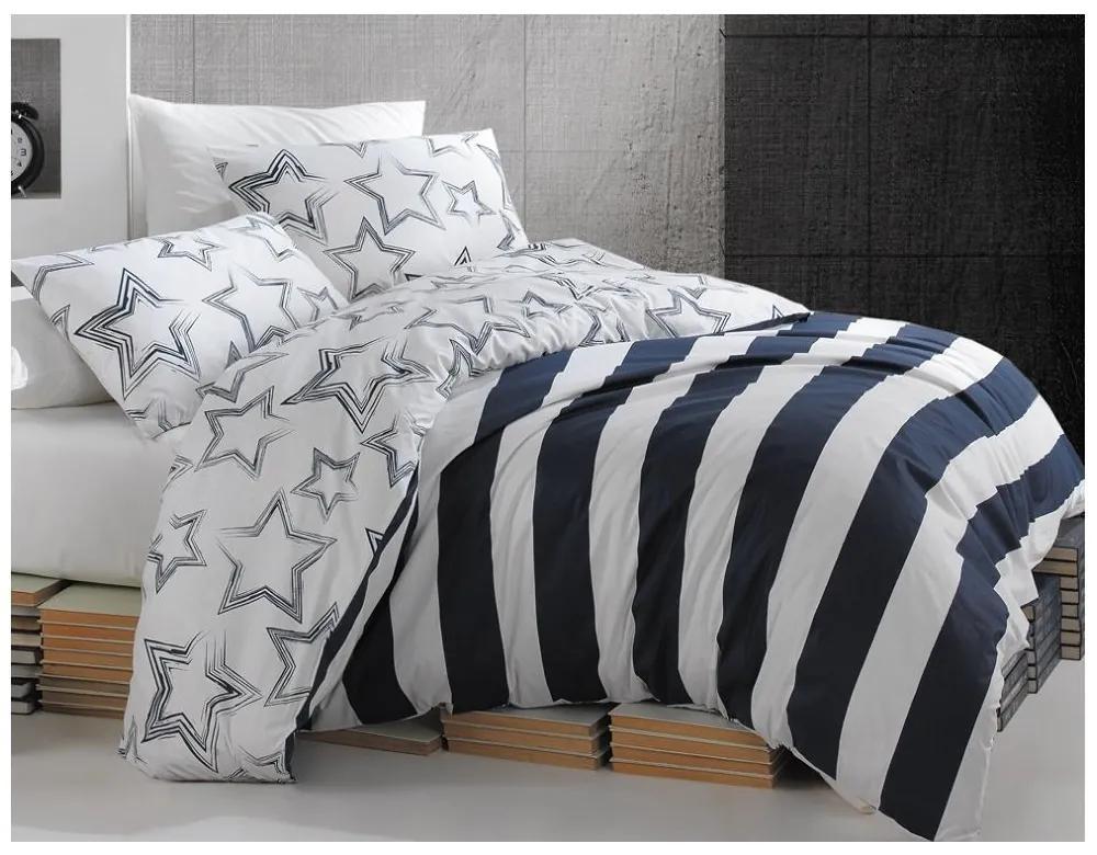 BedTex Francúzske bavlnené obliečky Renforcé – Stella modré 200x220/70x90cm