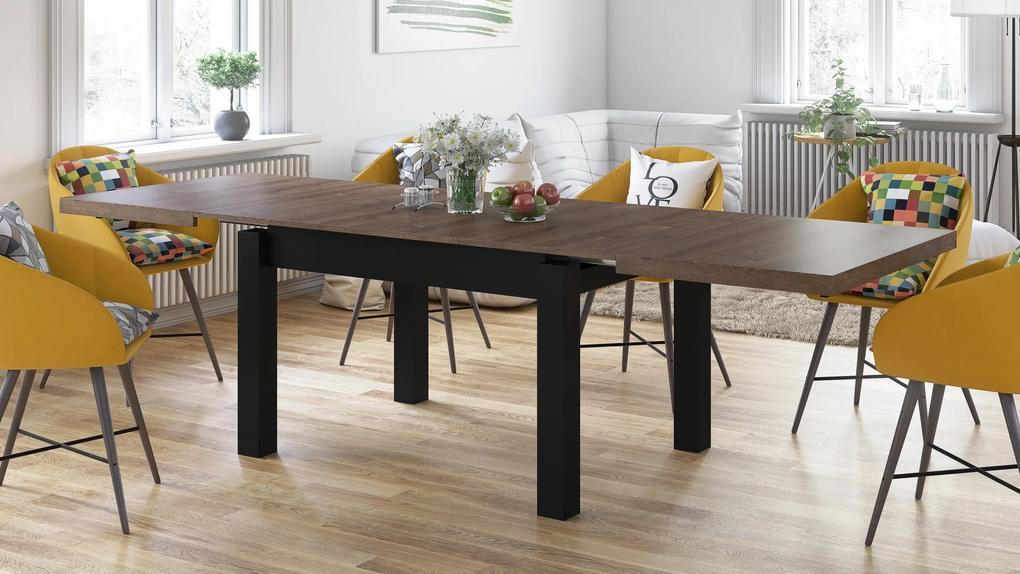 ROYAL jedálenský stôl rozkladací - hnedý dub / čierna, pre 8 osôb