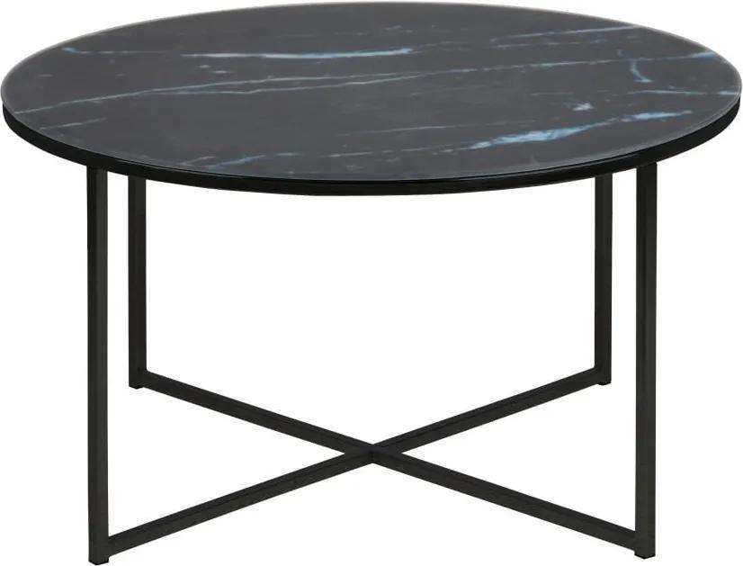 Čierny konferenčný stolík s doskou v mramorovom dekore Actona Alisma, ⌀ 80 cm