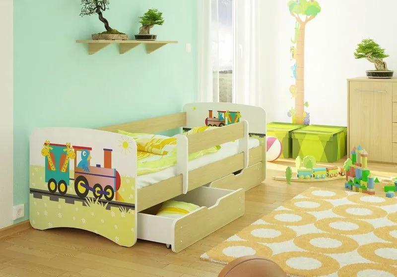 MAXMAX Detská posteľ ZVIERACIE VLÁČIK funny 180x80 cm - bez šuplíku 180x80 pre všetkých NIE