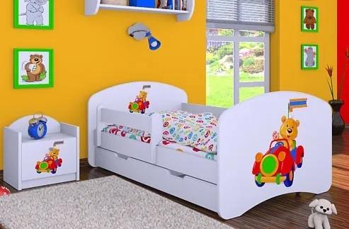 MAXMAX Detská posteľ so zásuvkou 160x80cm MACKO V AUTE 160x80 pre dievča|pre chlapca|pre všetkých ÁNO červená|oranžová|multicolor