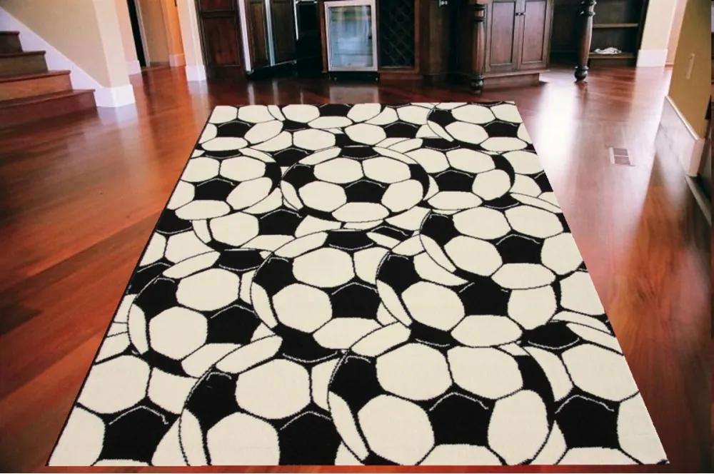Kusový koberec PP Fotbal biely, Velikosti 185x270cm