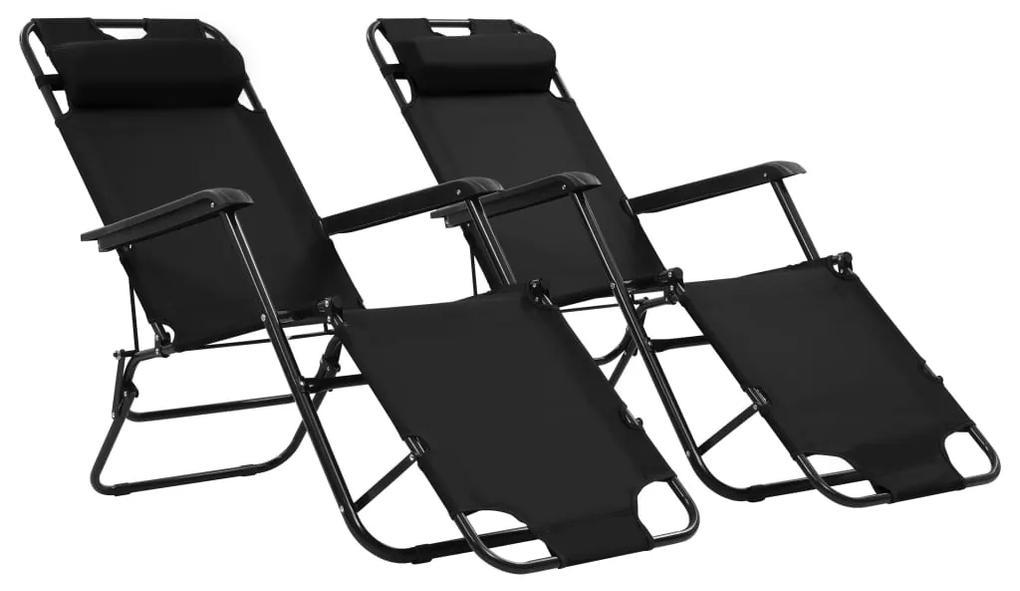 vidaXL Skladacie záhradné ležadlá 2 ks, opierky na nohy, oceľ, čierne