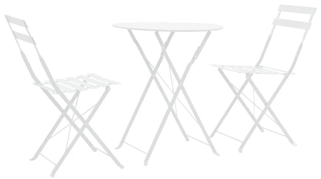 vidaXL 3-dielny vonkajší bistro set biely oceľový
