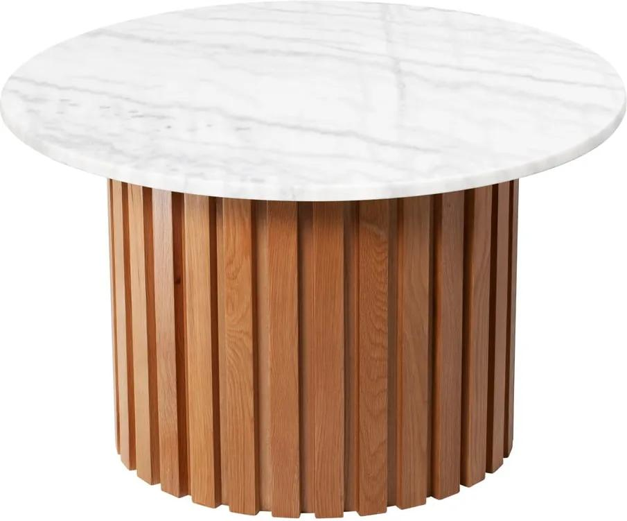 Biely mramorový konferenčný stolík s podnožím z dubového dreva RGE Moon, ⌀ 85 cm