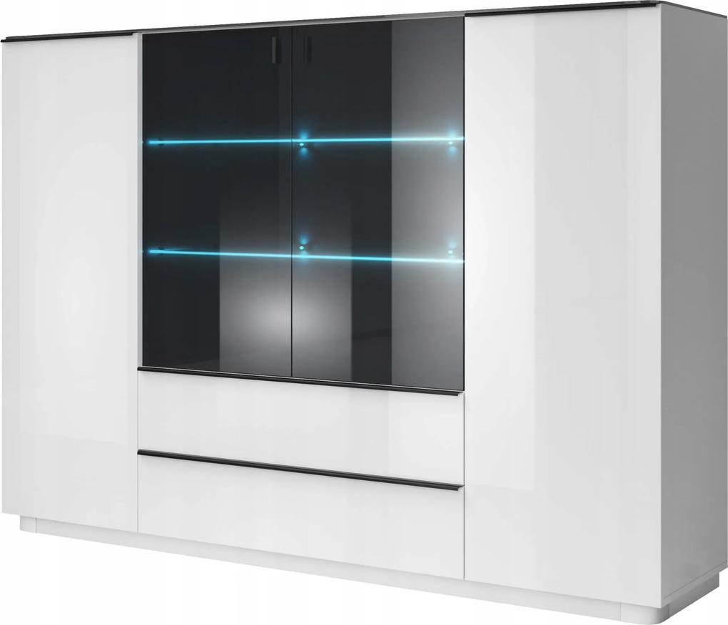 Vitrína Tiana 48, biela / biela + čierne sklo