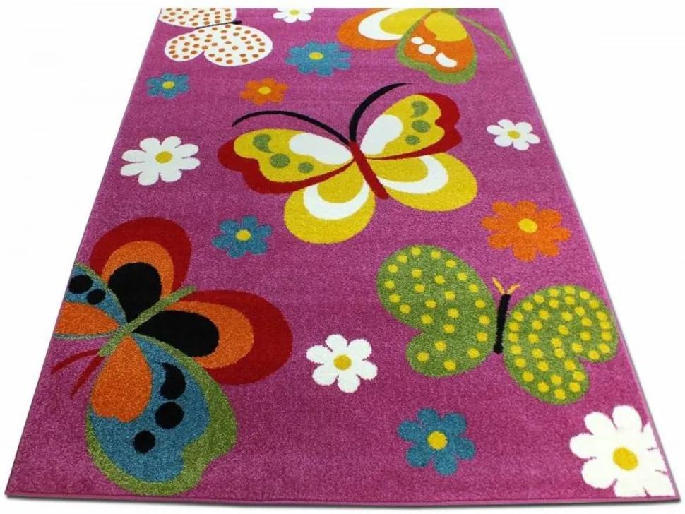 Detský koberec Motýle tmavo ružový, Velikosti 240x330cm