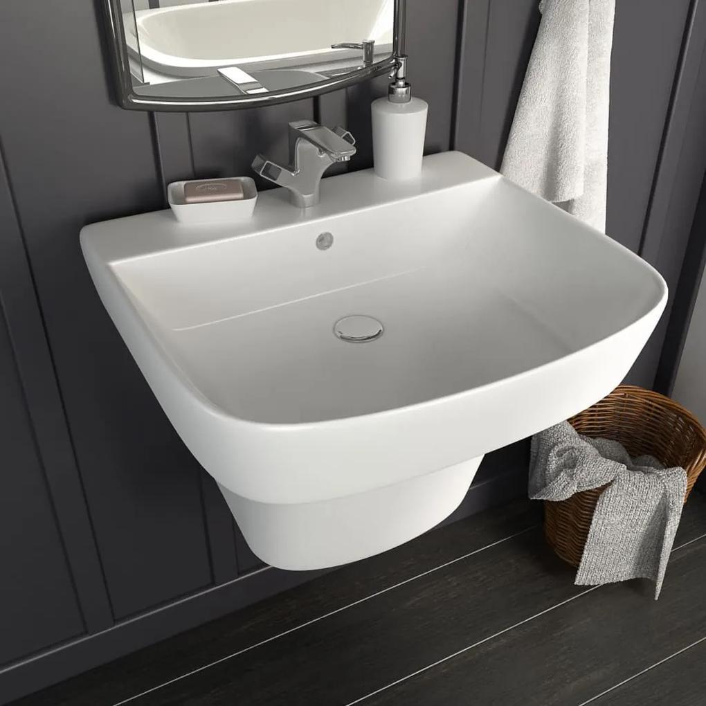 vidaXL Nástenné umývadlo keramické biele 500x450x410 cm