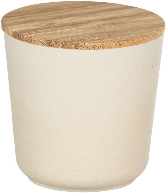 Béžový úložný box s bambusovým vekom Wenko Bondy, 500 ml