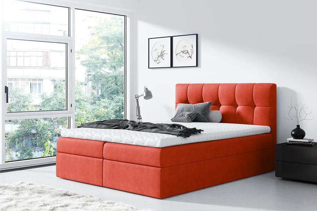 Moderná box spring posteľ Rapid 200x200, oranžová
