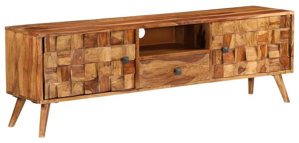 vidaXL TV stolík, sheeshamové drevo s medovým zakončením, 140x30x40 cm