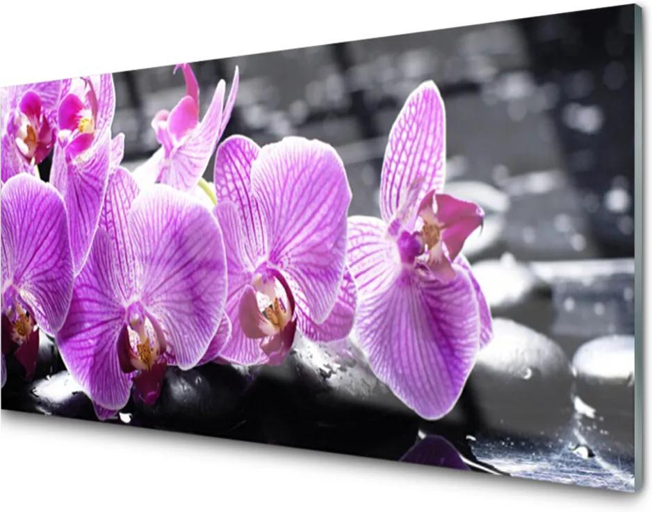 Obraz na skle Skleněný květ kameny