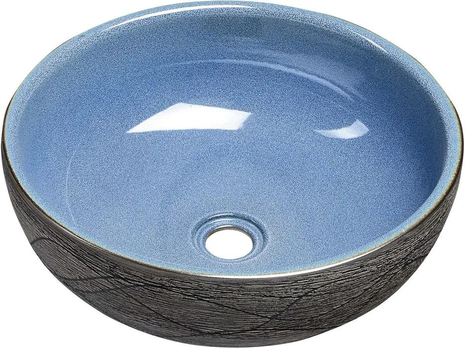 SAPHO - PRIORI keramické umyvadlo, průměr 41cm, 15cm, modrá/šedá (PI020)