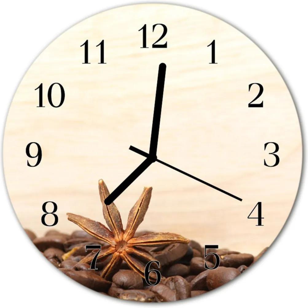 Nástenné skleněné hodiny Zrnková káva