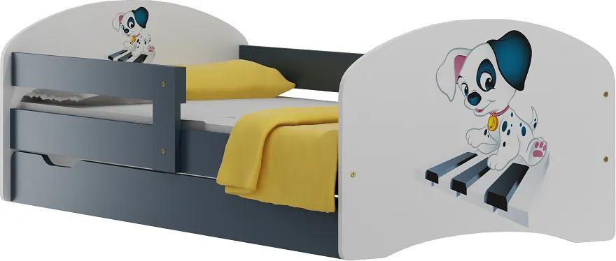 MAXMAX Detská posteľ so zásuvkami PSÍČEK A KLAVÍR 180x90 cm 180x90 pre dievča|pre chlapca|pre všetkých ÁNO