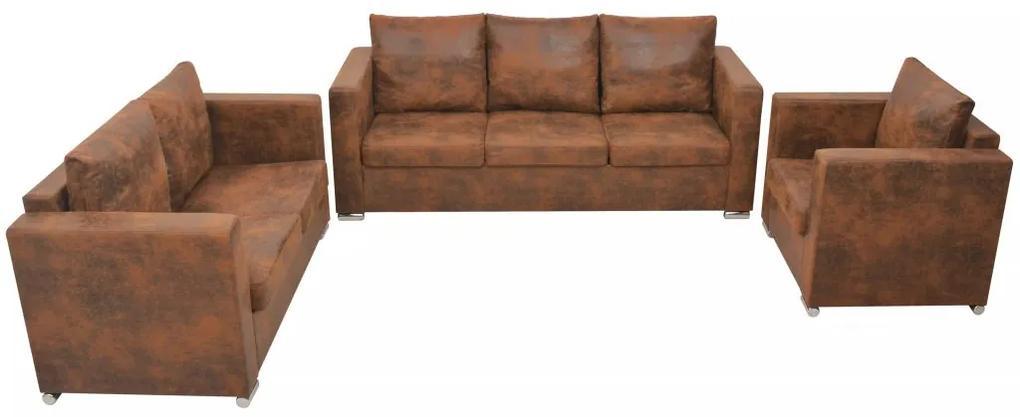 vidaXL Súprava sedačiek, 3-dielna, umelá semišová koža