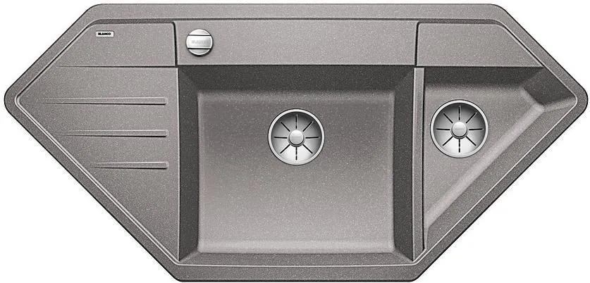 Granitový kuchynský drez - Blanco LEXA 9 E aluminium s excentrom 524992