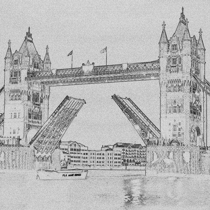 Dimex fototapeta Tower Bridge Čiernobiela kresba L-307 | 220 x 220 cm